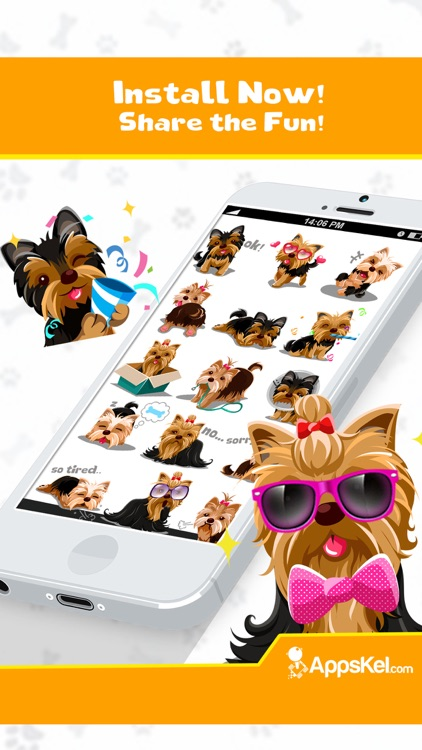 Yorkie Emoji:Yorkshire Terrier Dog Sticker App screenshot-4