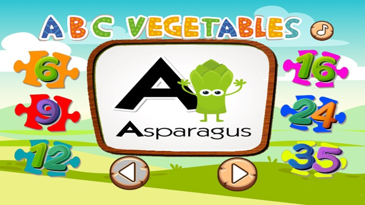 ABC Jigsaw Puzzle Vegetable Game Fun For Toddler