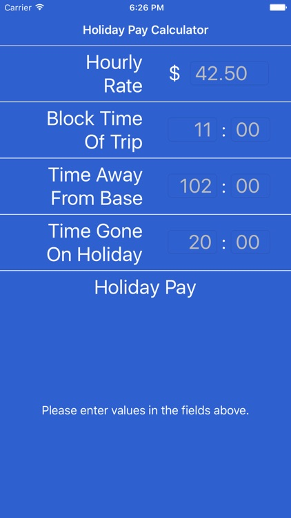 Holiday Pay Calculator