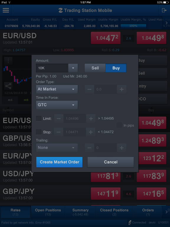 FXCM Trading Station for iPad screenshot two