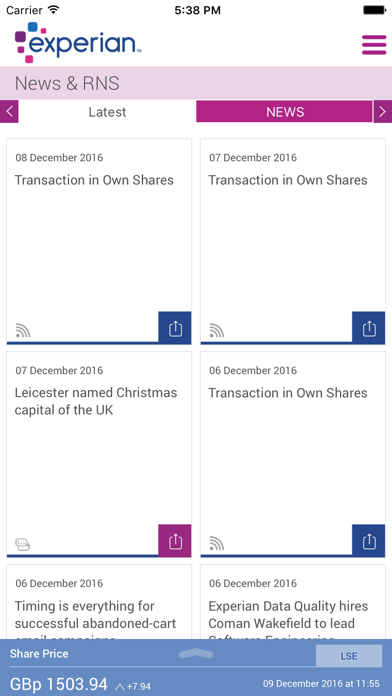 Experian plc Investor Relation screenshot two