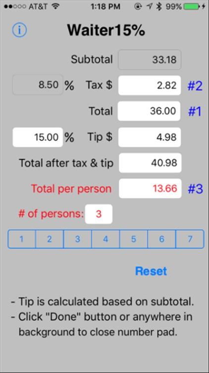 Waiter15% Tip Calculator