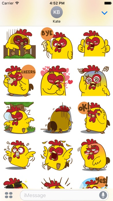 Yelo the naughty chicken for iMessage Sticker screenshot four