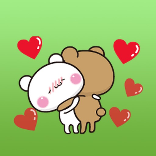 Animated Two Bears Fall In Love Stickers