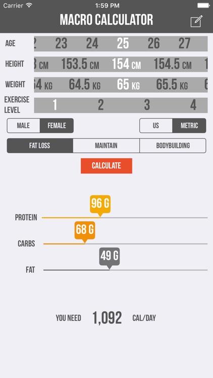 Macro Calculator - Mifflin-St Jeor Formula screenshot-4