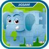 学习动物园动物拼图游戏的孩子