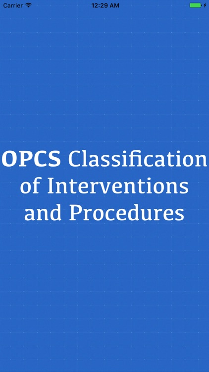 OPCS Classification of Interventions and Procedure