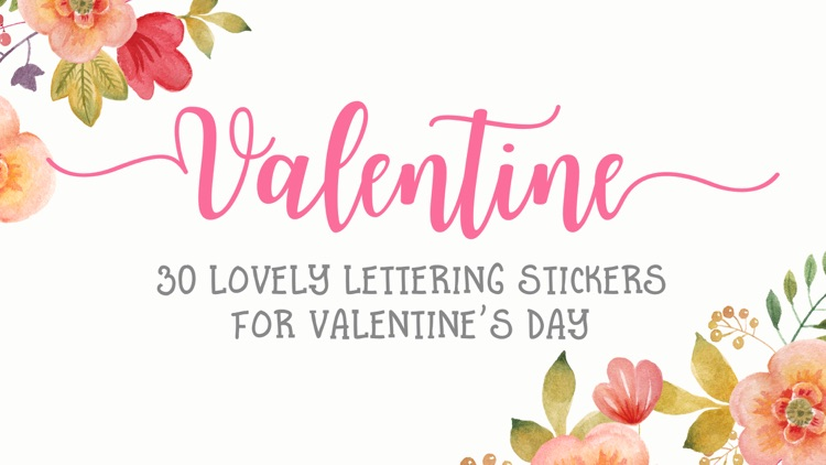 Valentine's Day Lettering Stickers