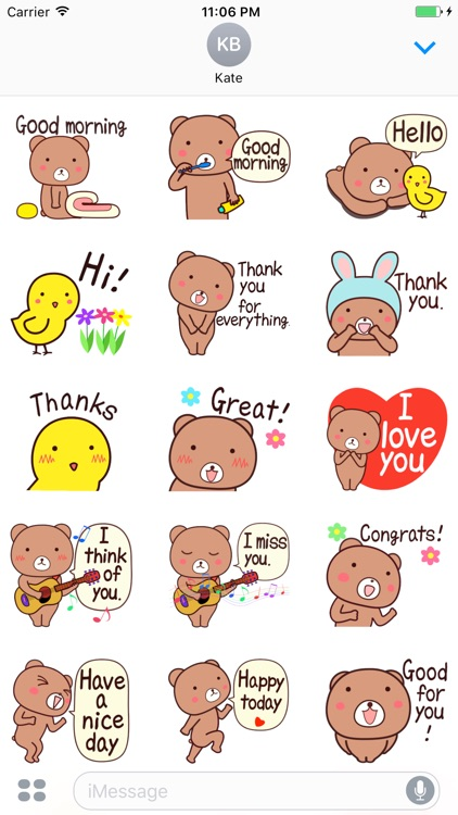Koby The Bear Expression Stickers