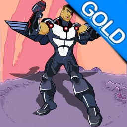 Steel-Man : The Space Defying Gravity Cyborg Robot fighting the alien invasion - Gold Edition