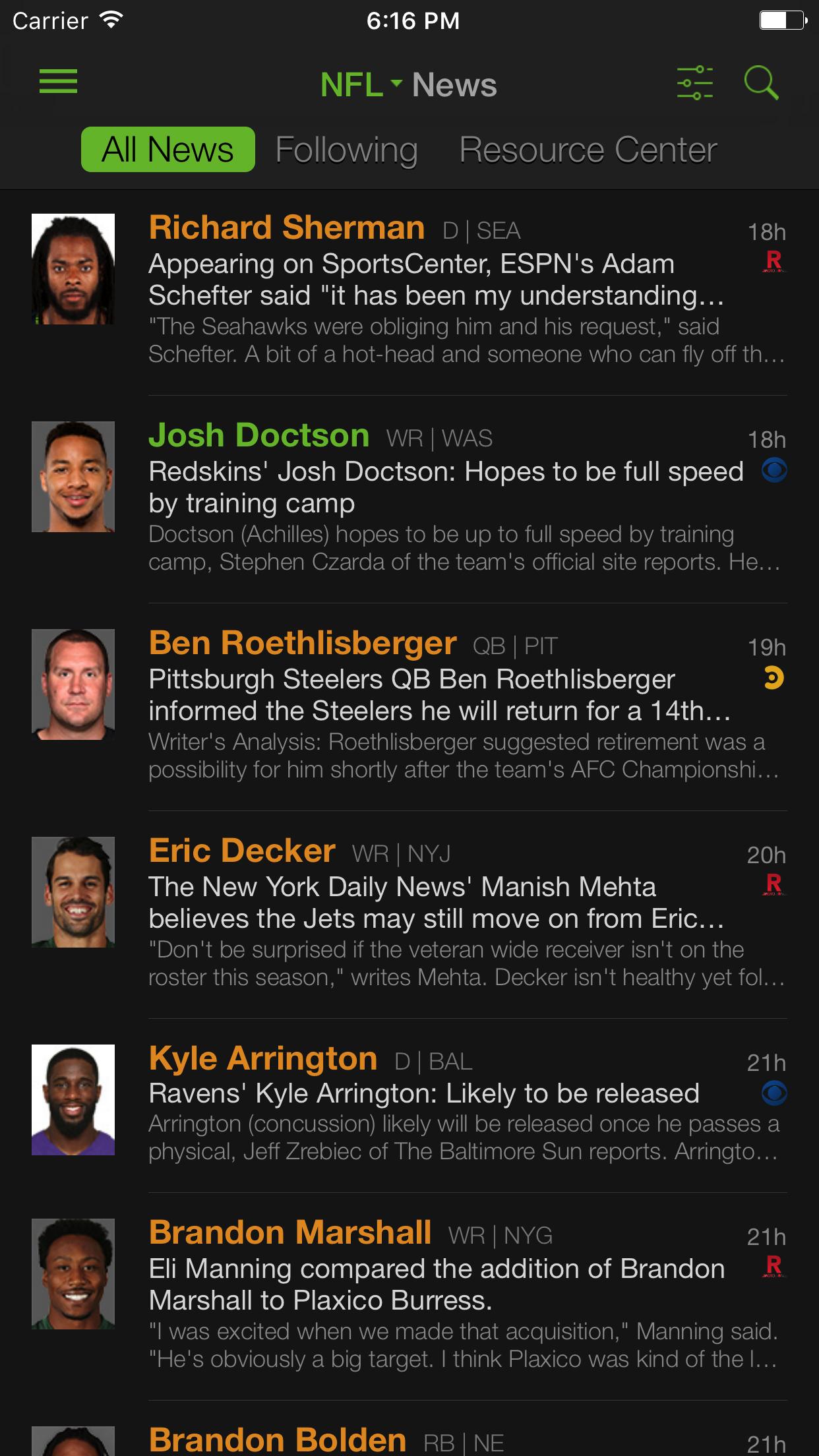 Playerline Fantasy Sports News Screenshot