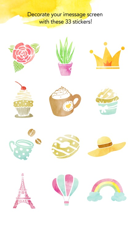 Watercolor illustrations stickers