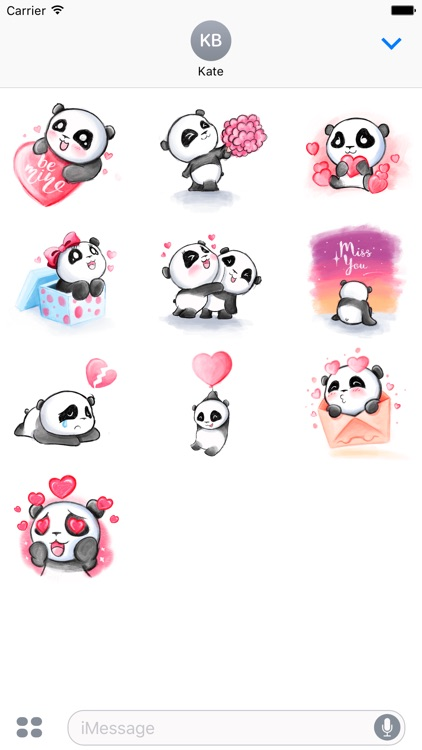 Be My Panda Valentine - Hand drawn love stickers
