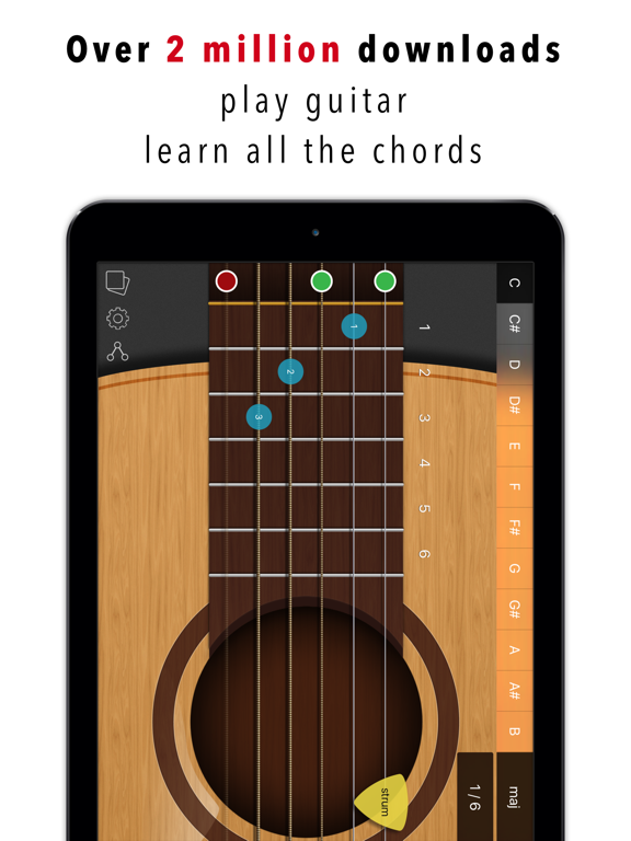 Guitar Chords - 6 string guitar with fretboard and chord learning tool screenshot