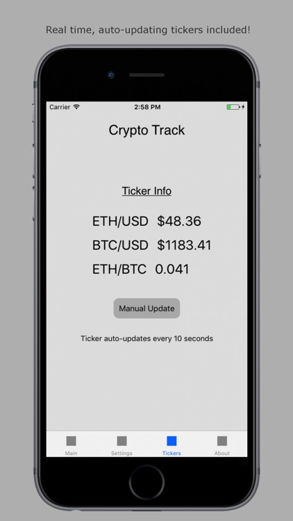 Crypto Track - Ethereum and BTC Tracker and Ticker
