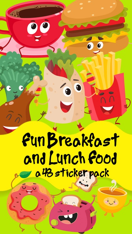 Fun Breakfast and Lunch Food Sticker Pack screenshot-0