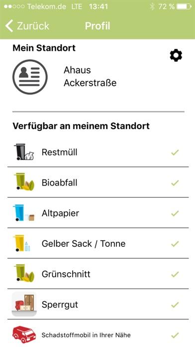 Abfall-App WMLScreenshot von 2