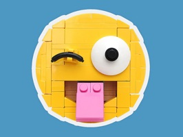 A lovely set of emoji faces built entirely out of LEGO by master builder Iain Heath