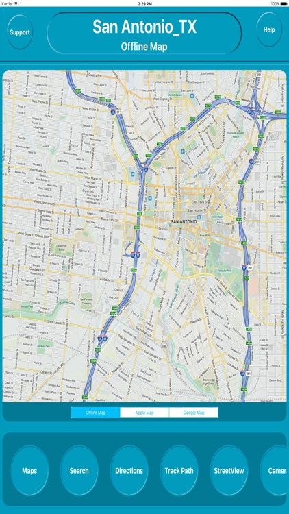 San Antonio Texas Offline City Map with Navigation