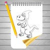 Coloring Book and Draw Dinosaur on Sketch Line