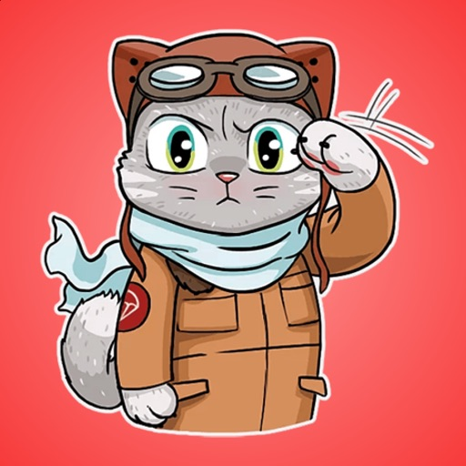 Cat the Pilot Stickers