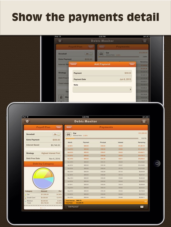Debts Monitor Pro for iPad-Debt Tracker & Reminder