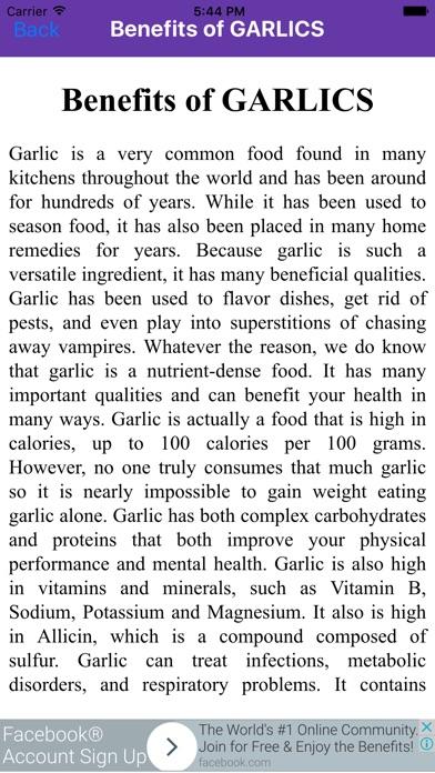 Benefits of Garlic Screenshot