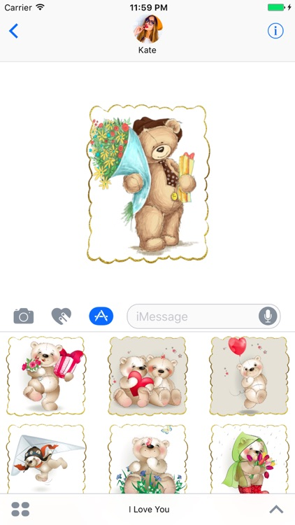 I Love You - Cute Teddy Bear Stickers for messages screenshot-3
