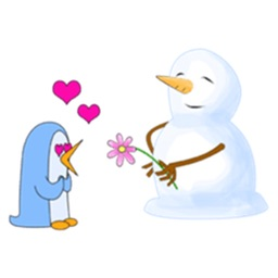Friendship Of Cute Snowman And Penguin Stickers