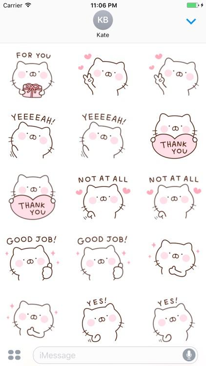 Mina The Pink Cat English Sticker