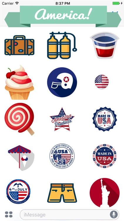 Fourth of July Stickers for Messaging