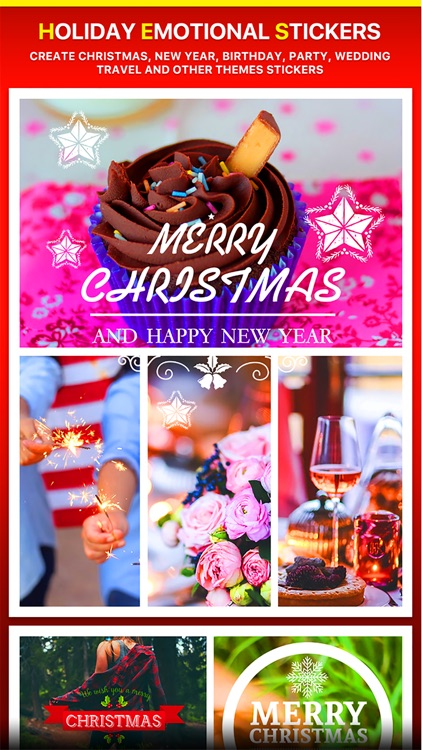 Merry Christmas Collage - Typography Captions screenshot-3