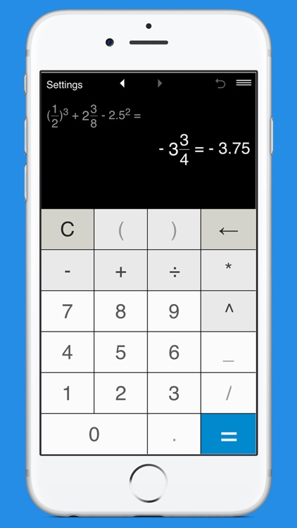 Fraction calculator with parentheses and exponent