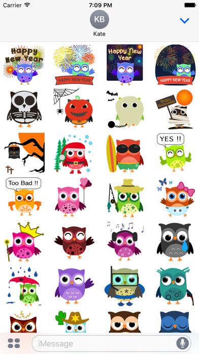 Cute Owls Stickers screenshot one