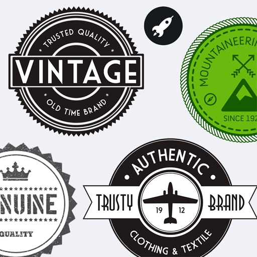 Vintage Stickers HD. Beautiful retro badges & text