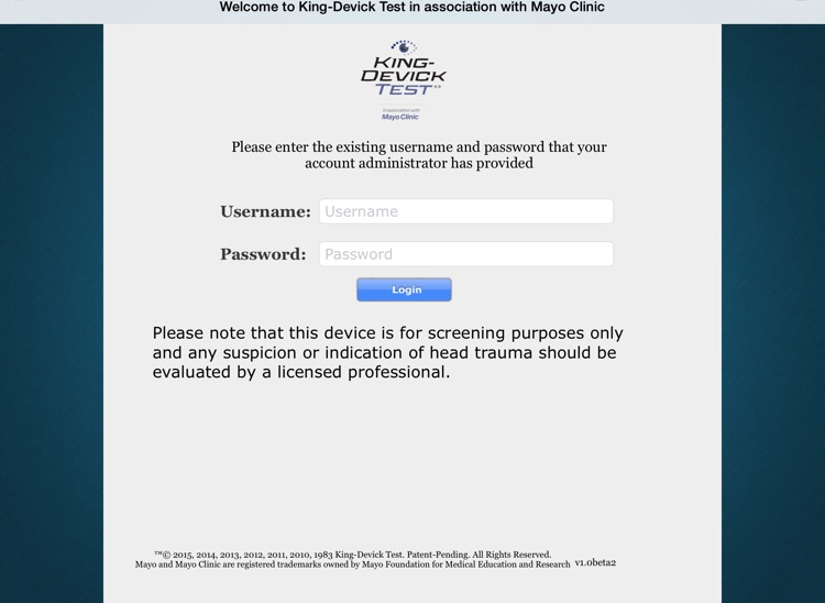 King-Devick Test in association with Mayo Clinic