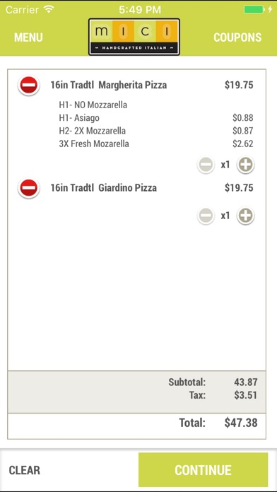 Mici Easy Online Ordering App Screenshot on iOS