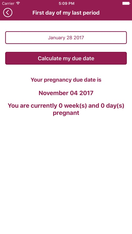 Mitera Center Due Date Calculator