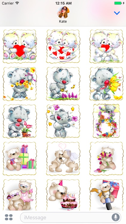 I Love You - Cute Teddy Bear Stickers for messages screenshot-4