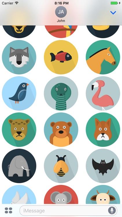 Flatimals - Flat Animal Sticker Pack for iMessage