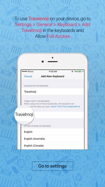 Travelmoji - emoji keyboard sticker for travelers screenshot-3