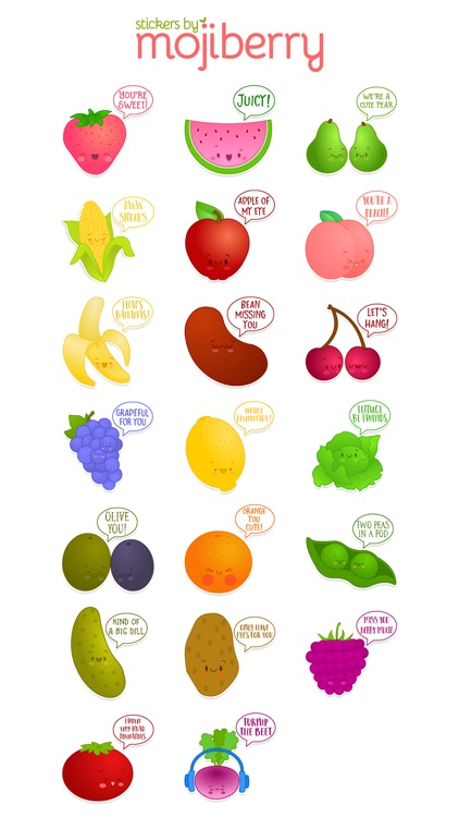 Fruit and Veggie Stickers by Mojiberry