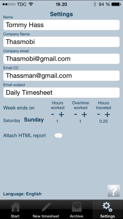Daily Timesheet