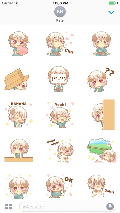 Emily The Cute Sheep Girl Animated Stickers