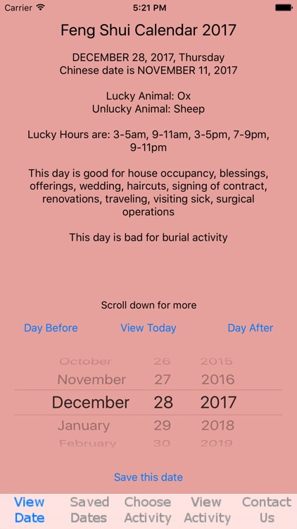 Feng Shui Calendar 2017 screenshot-0