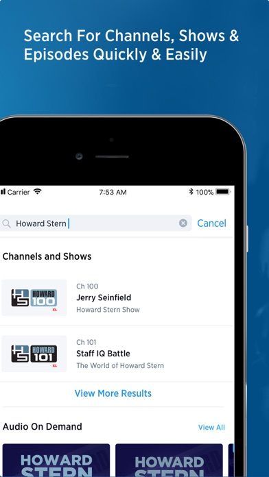 SiriusXM Radio Screenshot on iOS