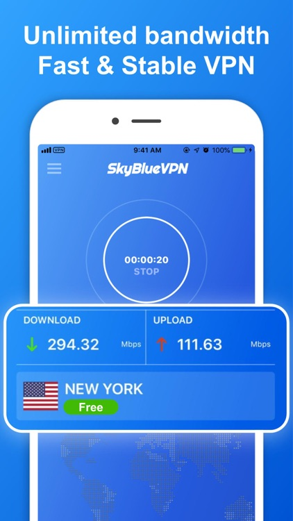 SkyBlueVPN: VPN Fast & Secure screenshot-0