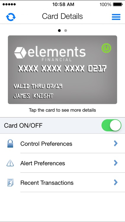 Card Control by Elements