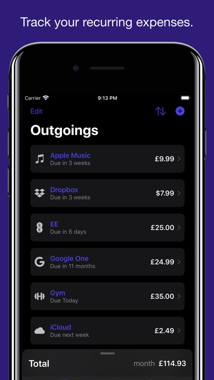 Outgoings - Track Expenses
