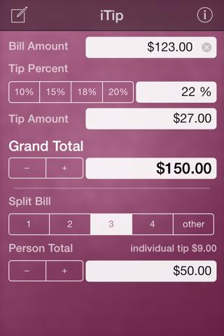 Screenshot of iTip Calc by PalaSoftware